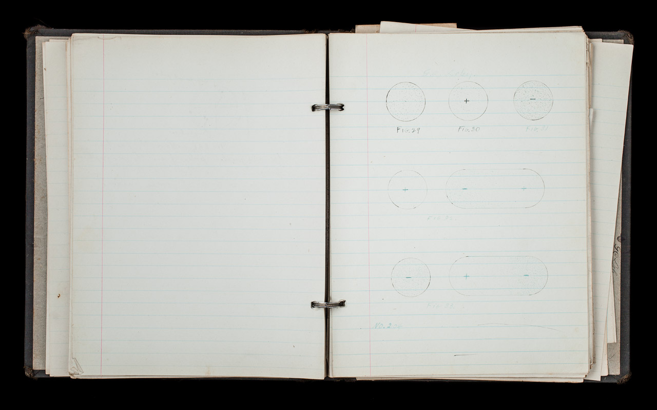 Clyde Doley's notebook, Cambridge radio school copyright James Sinks