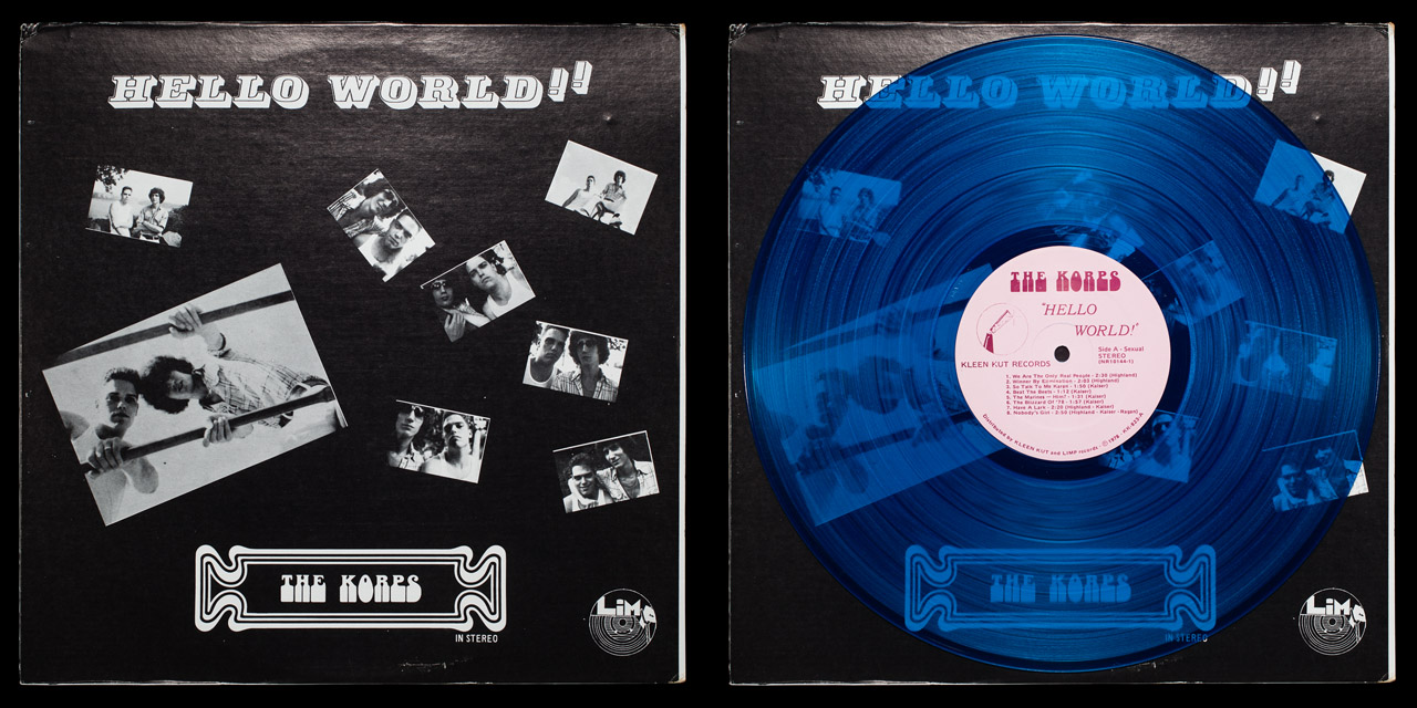 Afrika Korps Hello World cover and blue vinyl on Limp Records